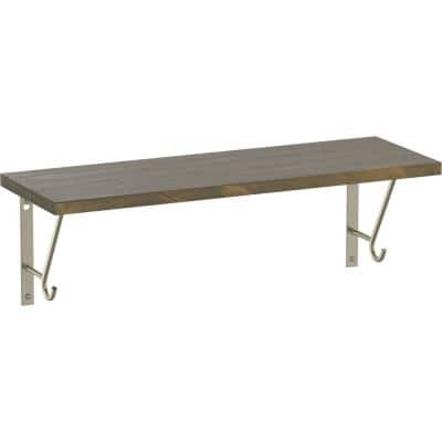 24 in. x 8 in. x 6 in. Medium Stained Solid Pine Decorative Wall Shelf with Nickel Steel Brackets and Hooks