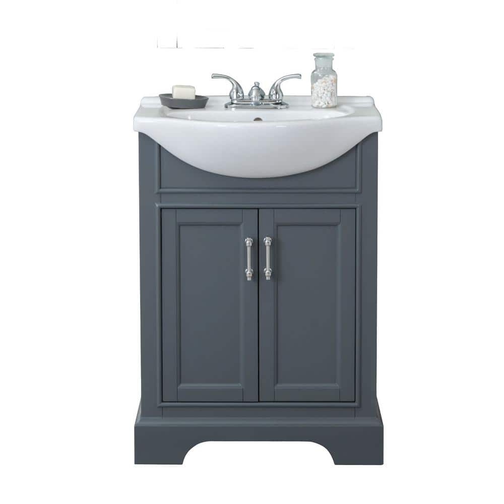 24 In W X 17 In D X 34 In H Bath Vanity In Gray With Ceramic Vanity Top In White With White Basin Wlf6046 The Home Depot