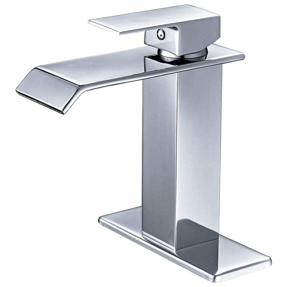 Boyel Living Waterfall Commercial Spout 1 Hole Single Handle Bathroom Sink Faucet In Oil Rubbed Chrome Deck Mount Lavatory Bwe A 96004 Ce The Home Depot