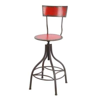 Industrial Style 41 in. Red Bar Chair with Adjustable Seat