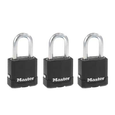 M115XTRILF Magnum Heavy Duty Outdoor Padlock with Key, 3-Pack Keyed-Alike