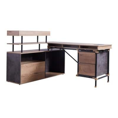 61 in. W L-Shaped Brown Wood 2-Drawer Writing Desk with Storage