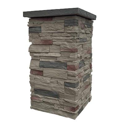 Country Ledgestone 30 in. x 16 in. Teton Buff Faux Polyurethane Stone Column Siding Wrap (4-Piece)