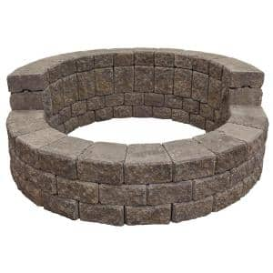 58 in. x 20 in. Concrete Romanstack High Back Fire Pit Kit in Summit Blend