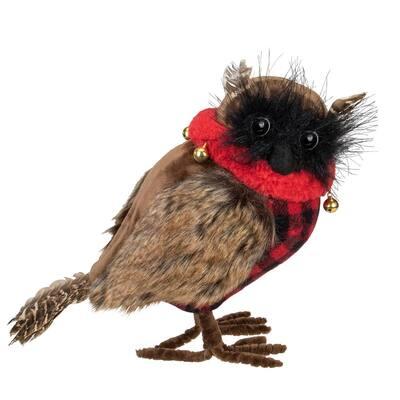 10 in. Owl with Buffalo Plaid Christmas Figure