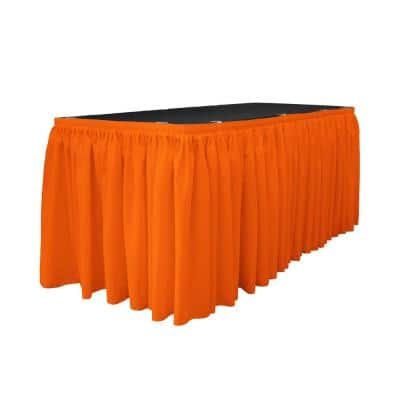 17 ft. x 29 in. Long Orange Polyester Poplin Table Skirt with 10 L-Clips