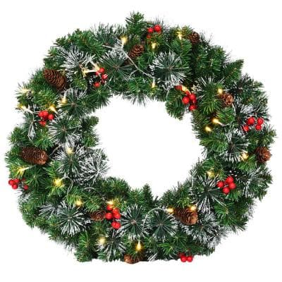 24 in. Green Pre-Lit LED Artificial Christmas Wreath with Pinecones and Red Berries