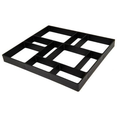 18 in. x 16 in. x 1.5 in. Black Plastic Mold Reusable Concrete Stepping Stone, DIY Paver Pathway Maker
