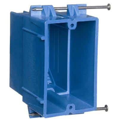 1-Gang 22 cu. in. Heavy PVC New Work Electrical Outlet Box - Blue