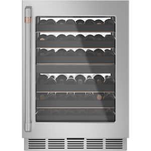 24 in. 46-Bottle Wine Beverage Cooler in Stainless Steel