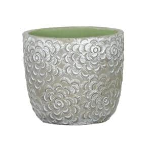 Flora 6 in. Rose Gray Cement Planter with Green Interior