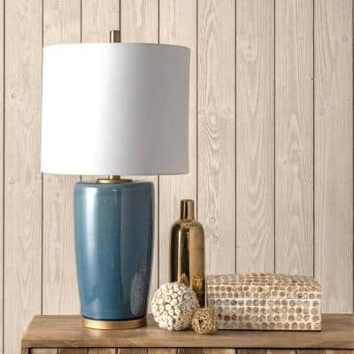 Avon 24 in. Blue Contemporary Table Lamp with Shade