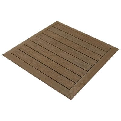 Luxury Home Products Peruvian Teak 28 in x 28 in Composite Wood Shower Bathroom Mat