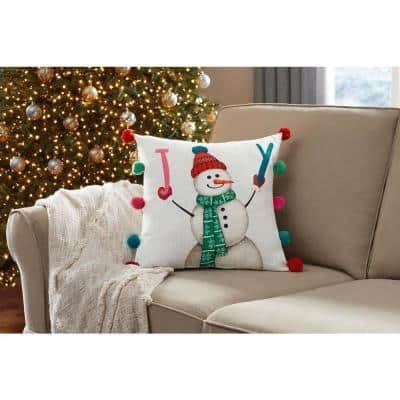 18 in. Joy Snowman Holiday Square Pillow