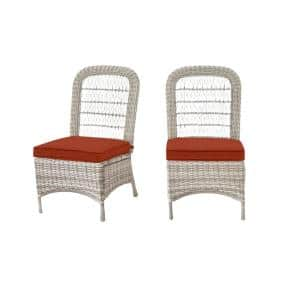 Beacon Park Gray Wicker Outdoor Patio Armless Dining Chair with CushionGuard Quarry Red Cushions (2-Pack)