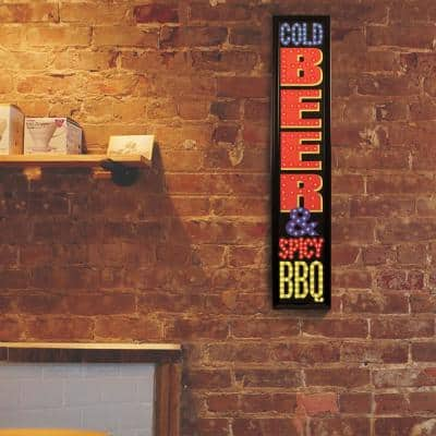 Cold Beer & Spicy BBQ Framed LED Sign