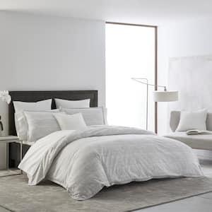 Abstract Batik 3-Piece Grey Cotton King Duvet Set