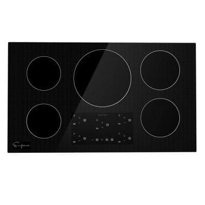 Built-in 36 in. Induction Electric Modular Cooktop in Black with 5 Elements including Melting Elements