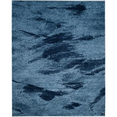 Retro Light Blue/Blue 8 ft. 9 in. x 12 ft. Area Rug