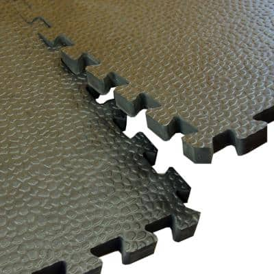 Pebble Top Black 24 in. x 24 in. x 3/4 in. Foam Interlocking Gym Floor Tile (Case of 15)