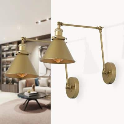 1-Light Wall Sconce Lighting Brass Gold Plug-In or Hardwire Modern Industrial Adjustable Swing Arm Wall Light (Set of 2)