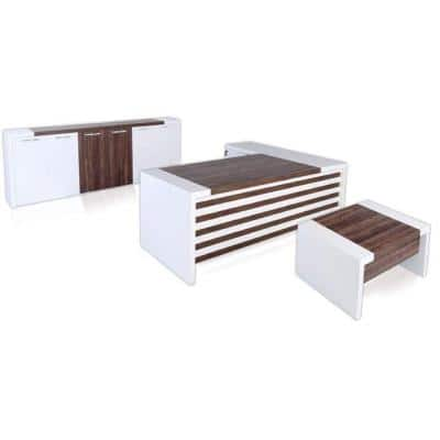 Modern Leon 87 in. White and Brown Wood L Shaped Desk Office Suite Furniture (Set of 3)