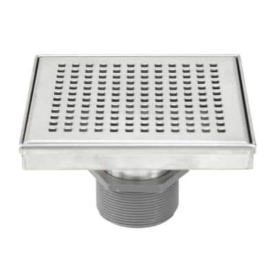 Shower Square Linear Drain 6 in. Brushed 304 Stainless Steel Square Checker Pattern Grate