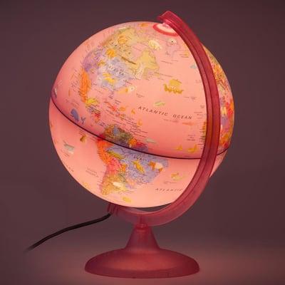 Safari Explorer Pink Animals 10 in. Illuminated Globe