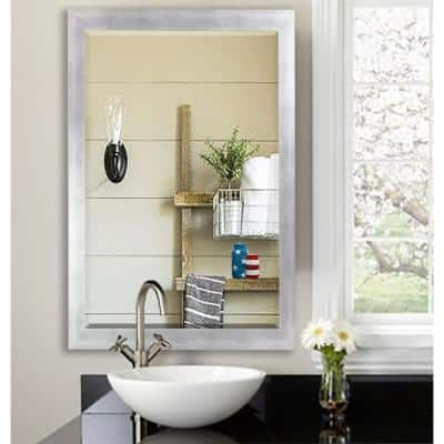 28 in. W x 32 in. H Framed Rectangular Beveled Edge Bathroom Vanity Mirror in Silver