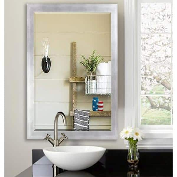 36 In W X 30 In H Framed Rectangular Beveled Edge Bathroom Vanity Mirror In Silver R095 36 30 The Home Depot