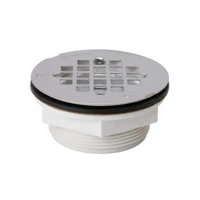 4.5 in. Quick Caulking Compression PVC Shower Drain with Stainless Strainer