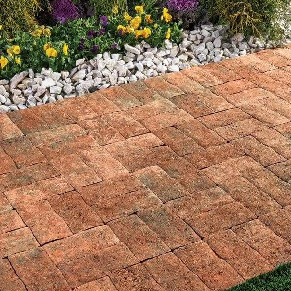 Pavestone Clayton 7 In L X 3 5 In W X 1 77 In H Antique Red Concrete Paver 11019511 The Home Depot