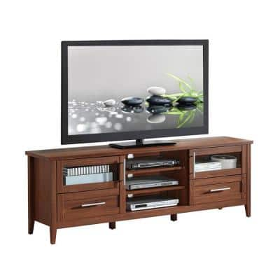 71 in. Oak Particle Board TV Stand with Storage for TVs Up to 75 in. with Storage Doors