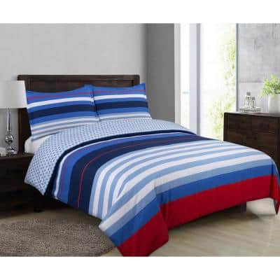 Harbor Stripe 3-Piece Blue and Red Cotton Full/Queen Duvet Cover Set