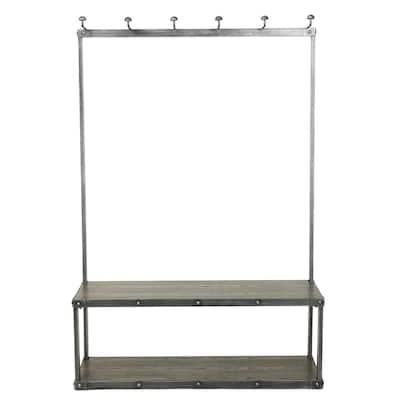 Carew Gray Wood and Metal Coat Rack Bench