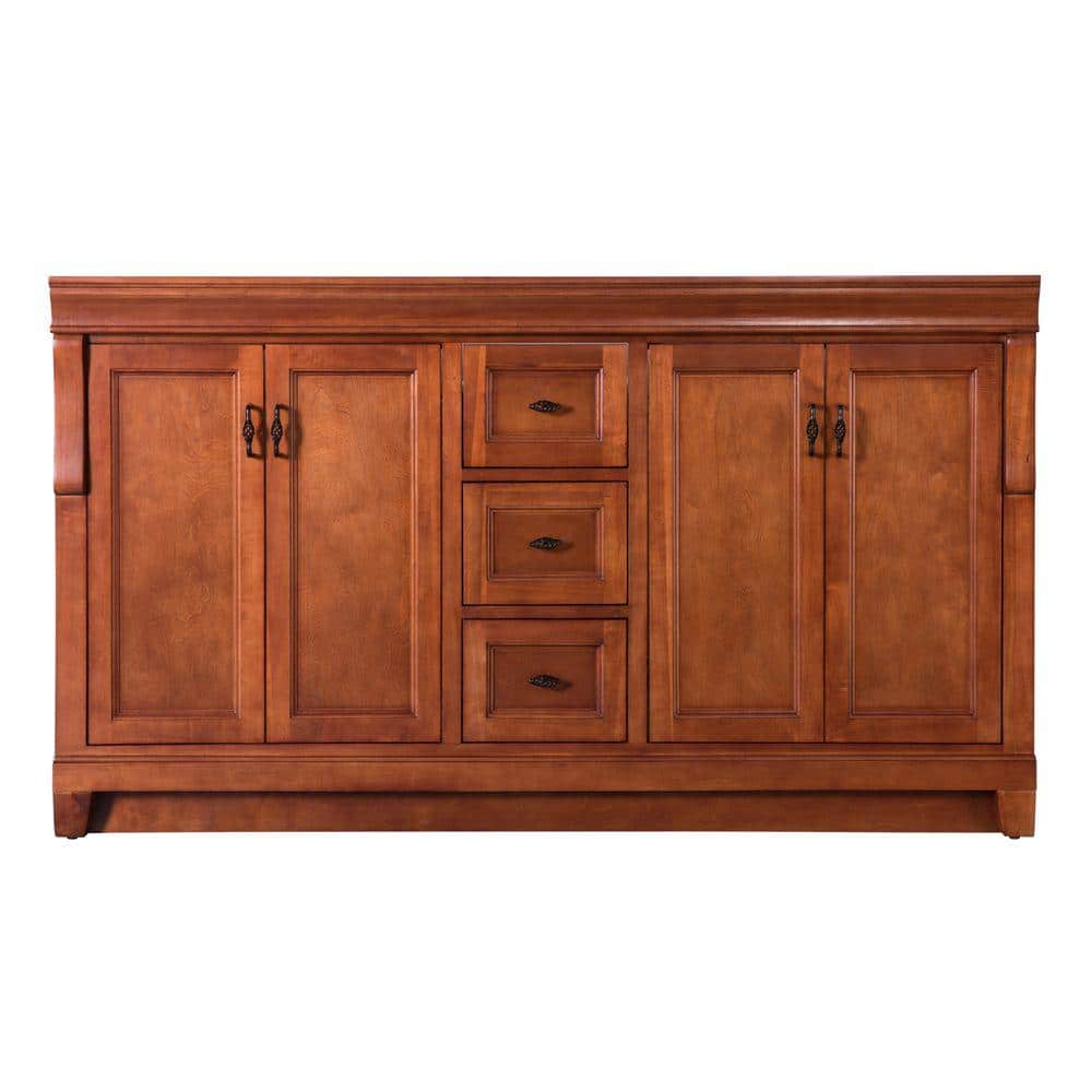 Home Decorators Collection Naples 60 In W Bath Vanity Cabinet Only In Warm Cinnamon For Double Bowl Naca6021d The Home Depot
