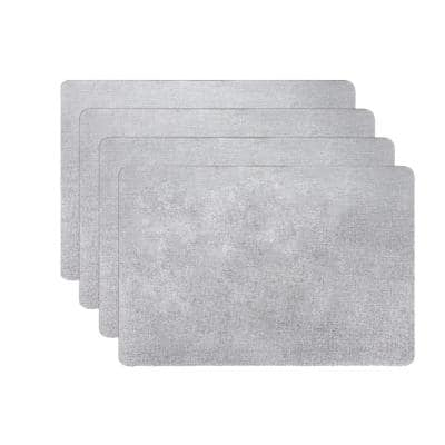 18 in. x 12 in. Sliver Vinyl Placemats (Set of 4)