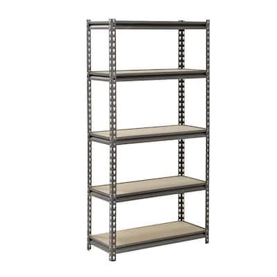 Silver 5-Tier Heavy Boltless Garage Storage Shelving (30 in. W x 60 in. H x 12 in. D)