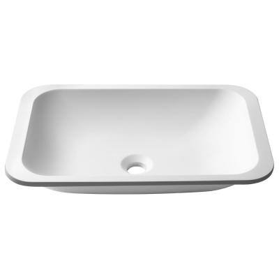 Natura Rectangle Solid Surface Undermount Vessel Sink Basin in Matte White
