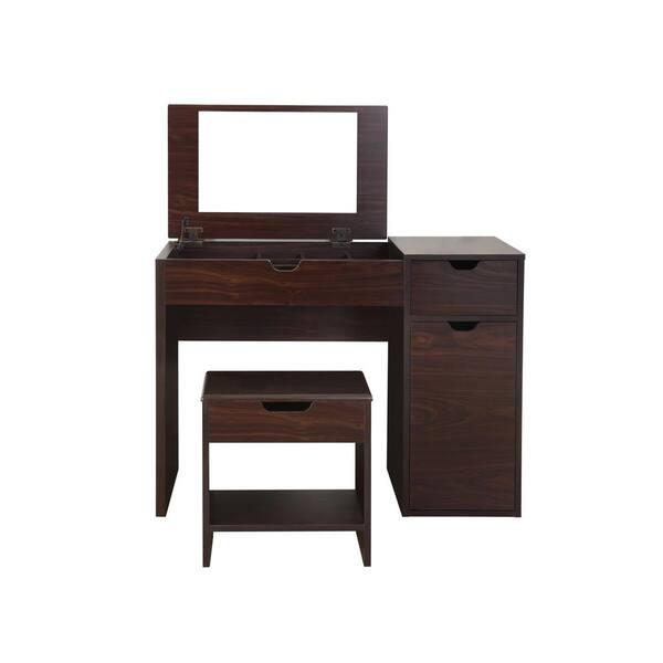 Furniture Of America Clover 2 Piece, Espresso Vanity Set With Lights