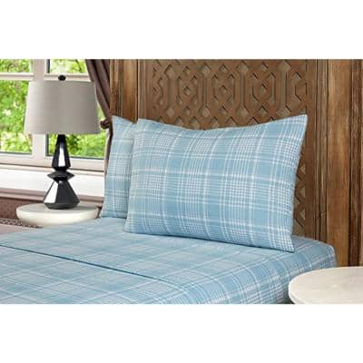 Mhf Home 4-Piece Blue Plaid Queen Sheet Set