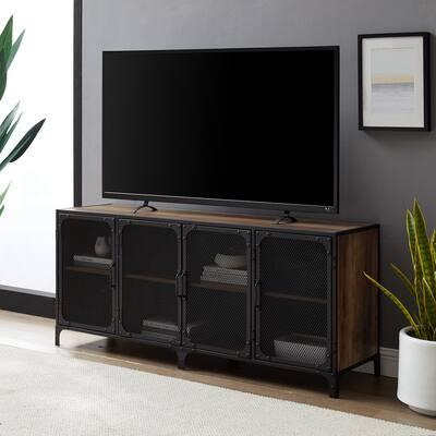 60 in. Rustic Oak Composite TV Stand 69 in. with Doors