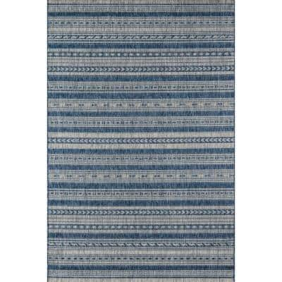 Tuscany Blue 7 ft. 10 in. x 10 ft. 10 in. Indoor/Outdoor Area Rug