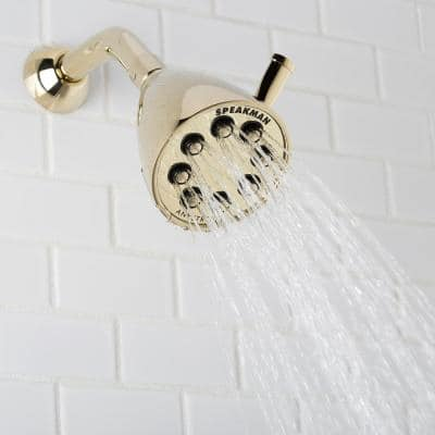 3-Spray 3.6 in. Single Wall MountHigh Pressure Fixed Adjustable Shower Head in Polished Brass