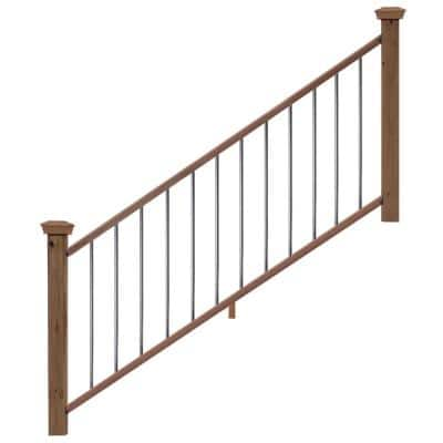 6 ft. Redwood Moulded Stair Rail Kit with Aluminum Square Balusters