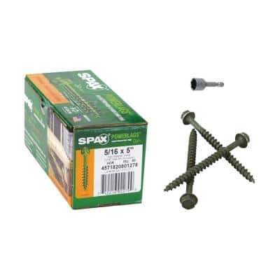 5/16 in. x 5 in. Washer Hex Drive High Corrosion Resistance Coated PowerLag Screw Contractor Pax (50-Box)