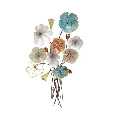 37 in. x 18 in. Multi Colored Metal Eclectic Floral Wall Decor