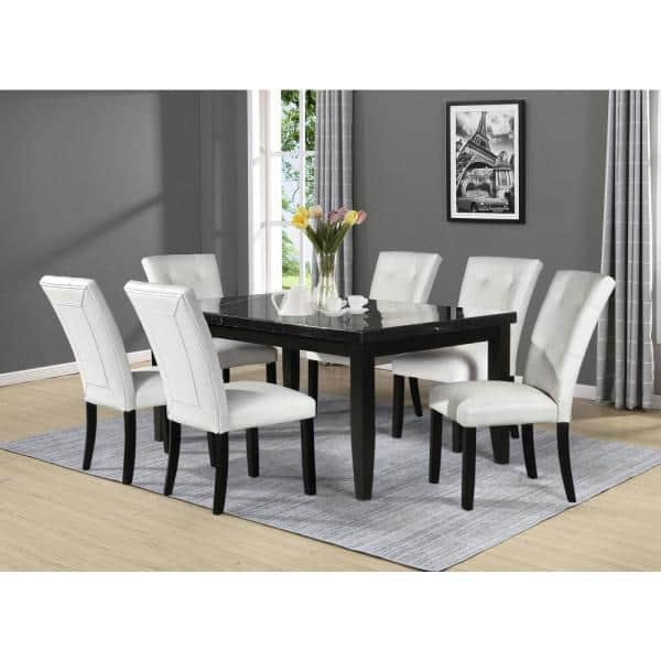Steve Silver Markina Black Marble Rectangle Dining Table Mk500mttl The Home Depot