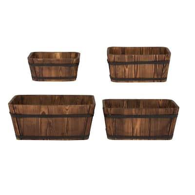 19.5 x 13 in. Burnt Brown Wood Bucket Barrel (Set of 4)