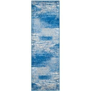 Adirondack Silver/Blue 3 ft. x 10 ft. Runner Rug